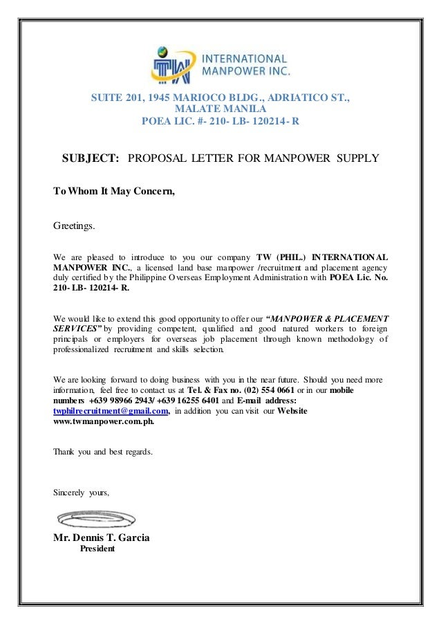 Proposal Letter For Manpower Request- Tw Phil