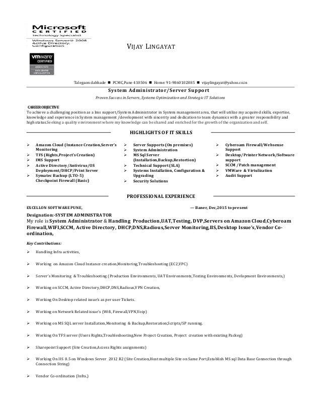 server system administration resume