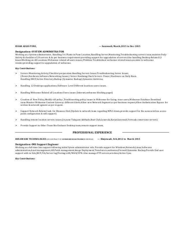 Server,System Administration Resume