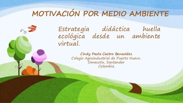 Cindy Paola Castro Benavides Colegio Agroindustrial de Puerto Nuevo. Simacota, Santander Colombia MOTIVACIÓN POR MEDIO AMB...