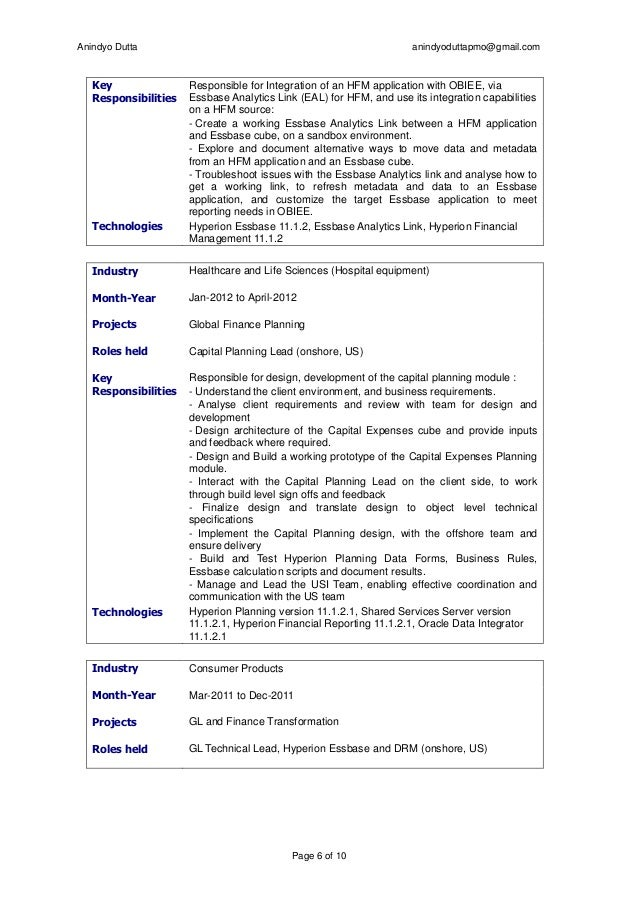 AnindyoDutta - Manager, MBA, BTech, Oracle Certified - Hyperion Resume