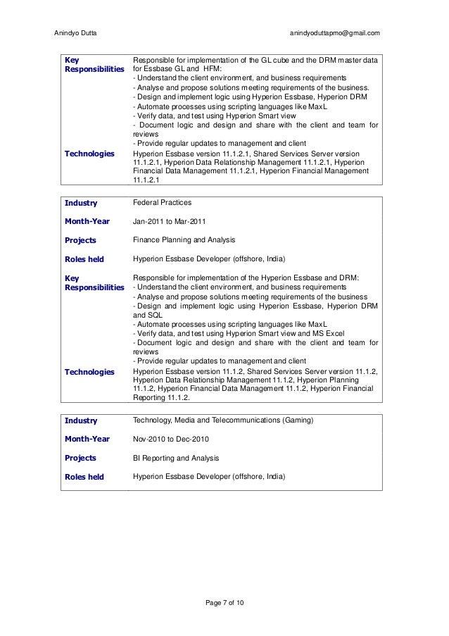 Anindyodutta Manager Mba Btech Oracle Certified Hyperion Resume