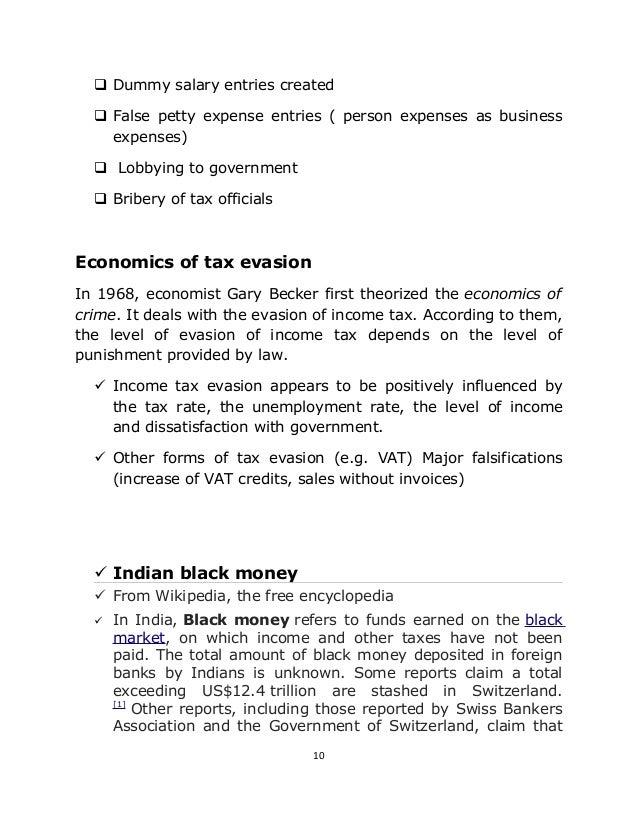 term paper on tax evasion