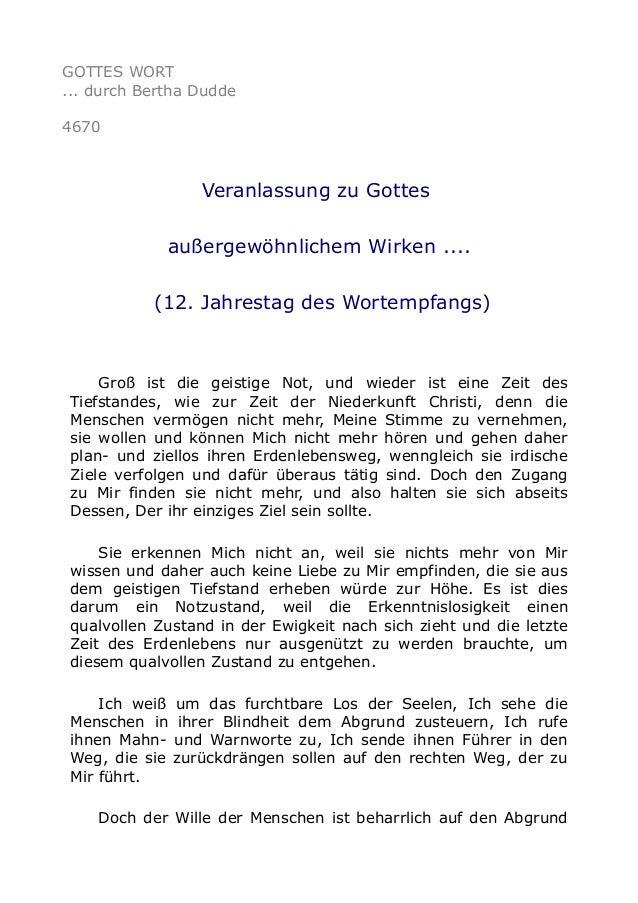 GOTTES WORT ... durch Bertha Dudde 4670 Veranlassung zu Gottes außergewöhnlichem Wirken .... (12. Jahrestag des Wortempfan...