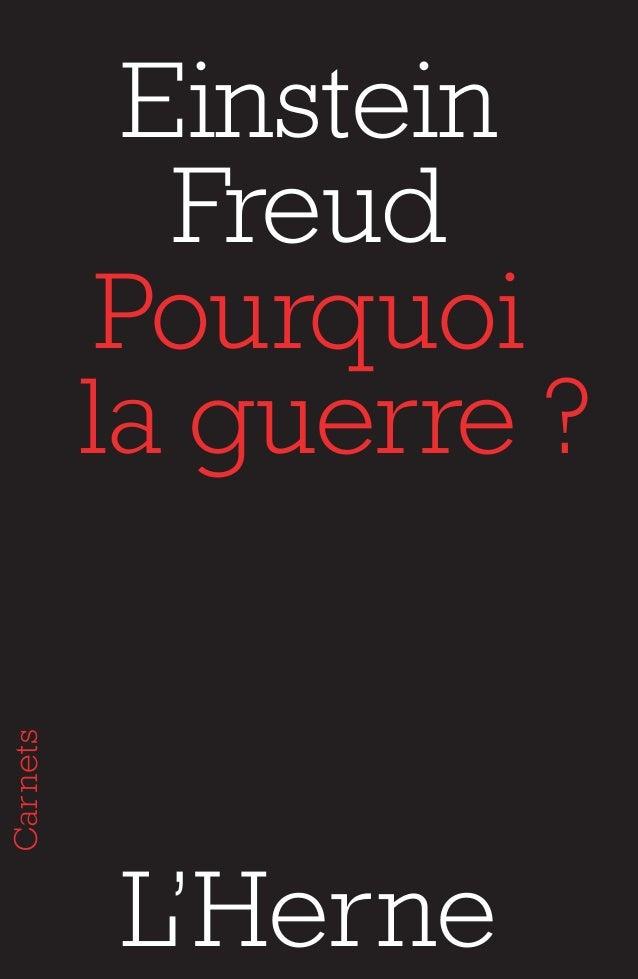 Einstein  Freud  Pourquoi  la guerre ?  L'Herne  Carnets