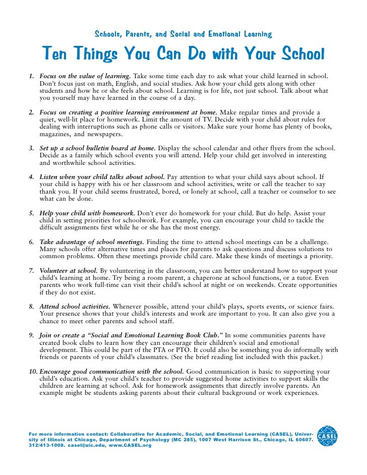 What Can Be Done To Help Parents Of >> Ten Things You Can Do At Home