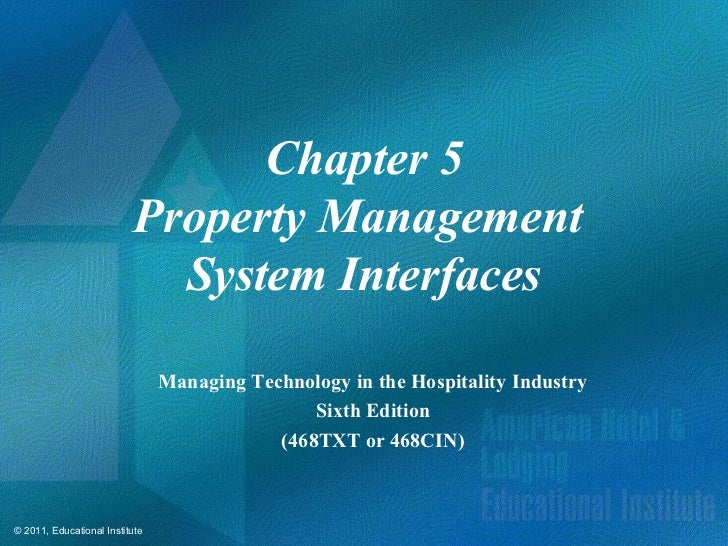 Chapter 5                          Property Management                            System Interfaces                       ...