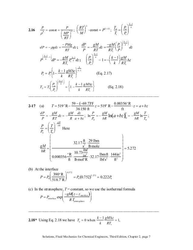 ) ; T2 T1 = P2 P1 ⎛ ⎝ ⎜⎜ ⎞ ⎠ ⎟⎟ k−1 k 2.16 P ρk = const = P MP RT ⎛ ⎝ ⎜ ⎞ ⎠ ⎟ k ; RT M ⎛ ⎝ ⎜ ⎞ ⎠ ⎟ k ⋅ const = P 1− k( dP ...