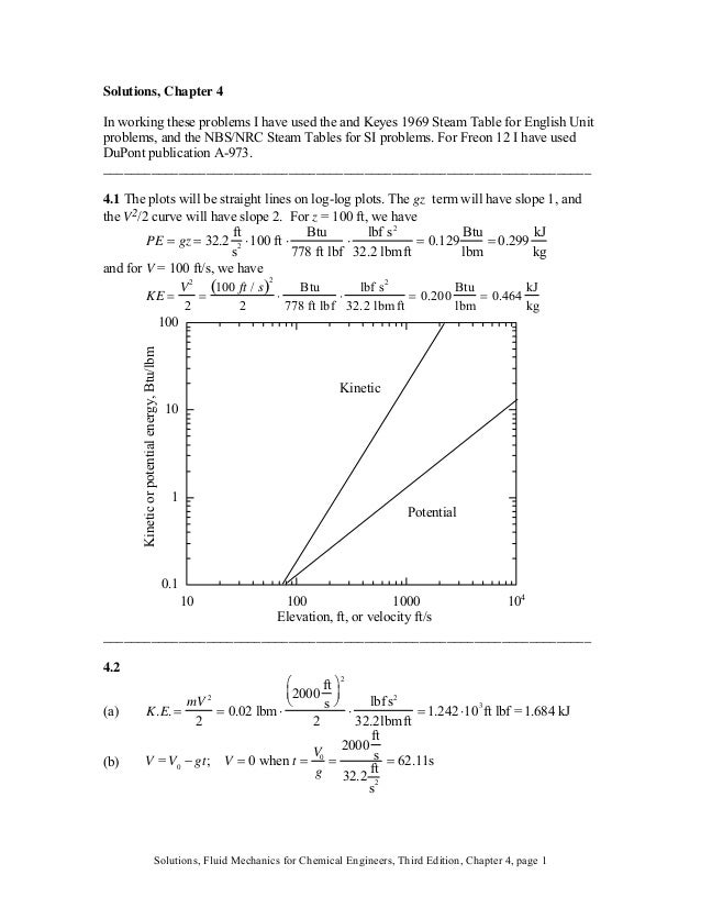 Solutions, Chapter 4 In working these problems I have used the and Keyes 1969 Steam Table for English Unit problems, and t...