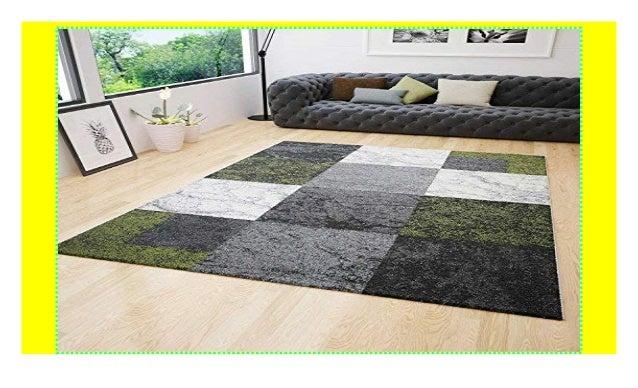 Wohnzimmer Teppich Modern Kurzflor Kariert Grün Grau Creme ...