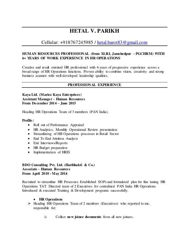 hetal-v-parikh-resume-1-638 Xlri Resume Format on