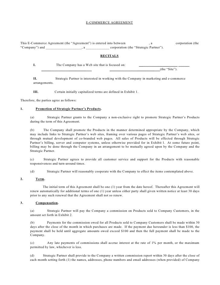 ECommerce Agreement – Marketing Agreement Template