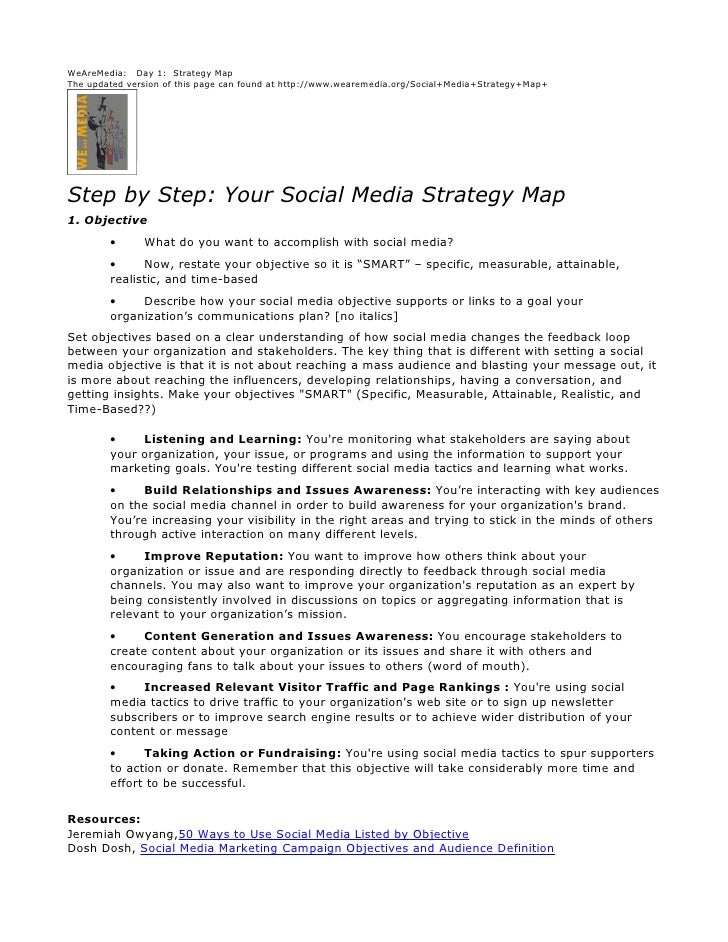 WeAreMedia: Day 1: Strategy Map The updated version of this page can found at http://www.wearemedia.org/Social+Media+Strat...