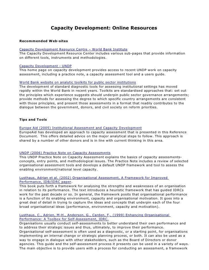 Capacity Development: Online Resources  Recommended Web-sites  Capacity Development Resource Centre – World Bank Institute...