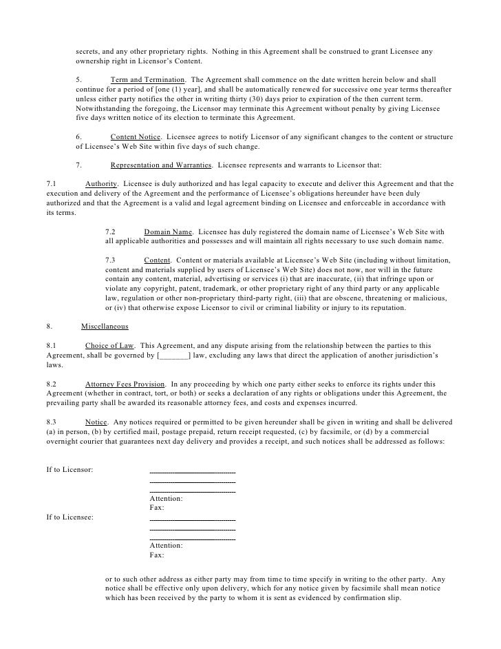 Web-Linking License Agreement