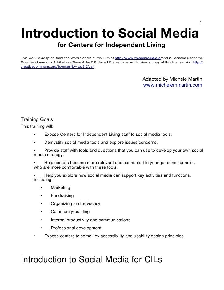 1   Introduction to Social Media                       for Centers for Independent Living This work is adapted from the We...