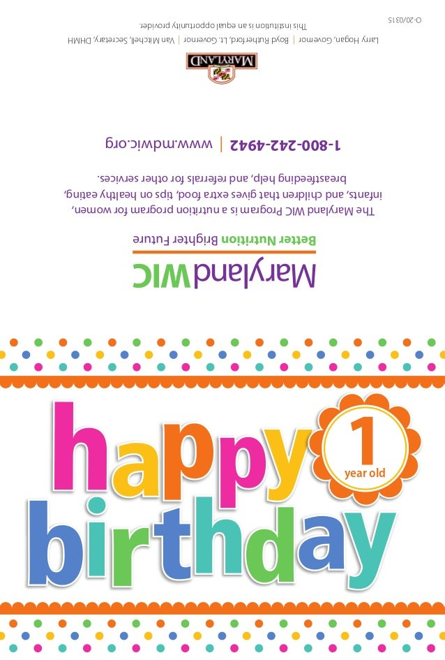 Maryland WIC Outreach Birthday Card One Year Old