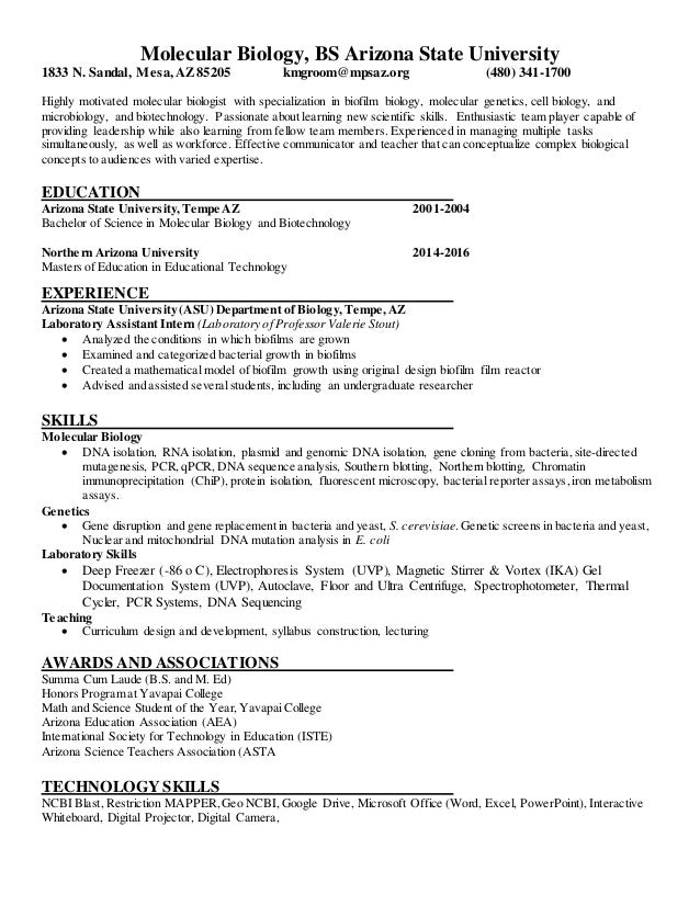 Resume Molecular Biology Kerry Groom