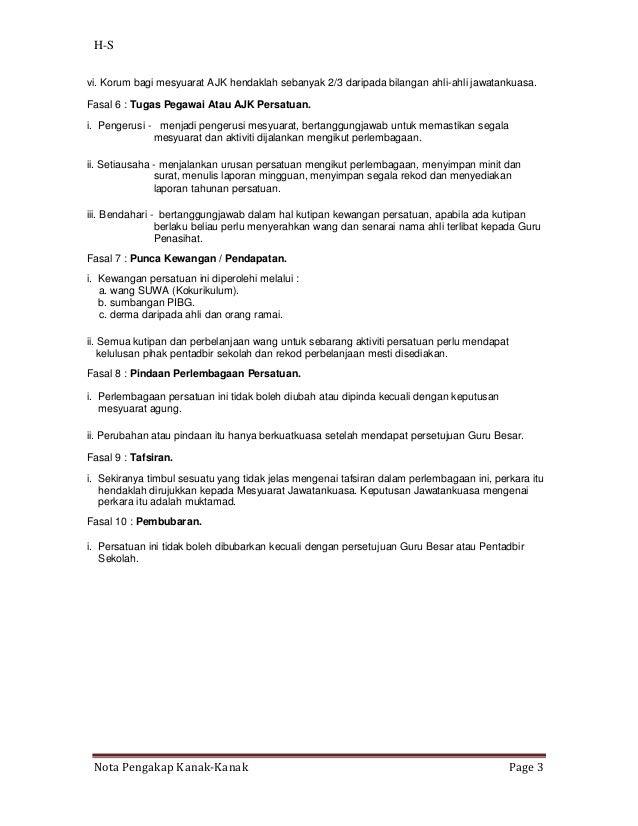 H-Svi. Korum bagi mesyuarat AJK hendaklah sebanyak 2/3 daripada bilangan ahli-ahli jawatankuasa.Fasal 6 : Tugas Pegawai At...