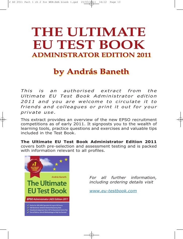 THE ULTIMATE    EU TEST BOOK         2010This   is  an   authorised   extract  from theUltimate EU Test Book 2010 and you ...