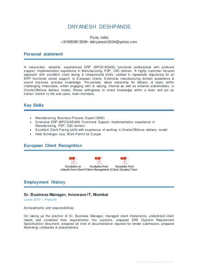 cv erpfunctionalconsultant dnyanesh 09nov2016 rh slideshare net