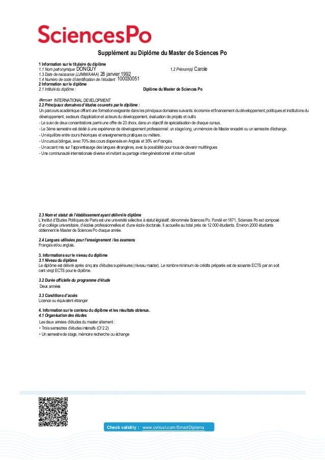 Supplément au Diplôme du Master de Sciences Po 1 Information sur le titulaire du diplôme 1.1 Nom patronymique 1.2 Prénom(s...