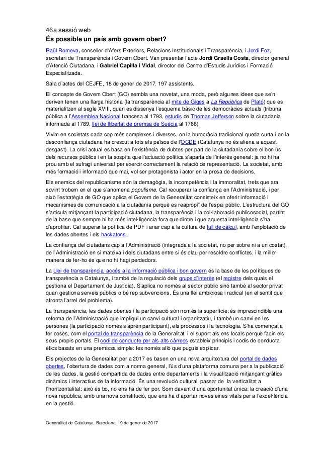 46a sessió web És possible un país amb govern obert? Raül Romeva, conseller d'Afers Exteriors, Relacions Institucionals i ...
