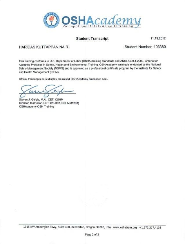 OSHA certificate Haridas