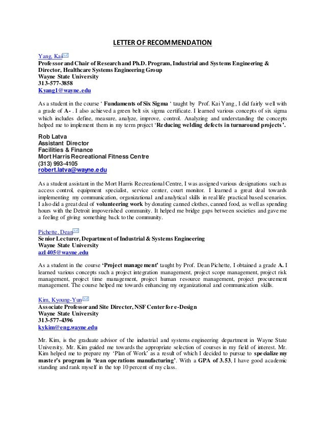 letter of recommendation yang kai professor and chair of research and phd