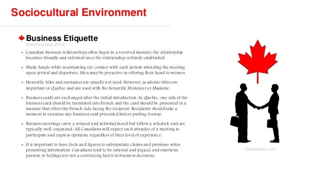 Canada country analysis for int 113 business etiquette sociocultural environment reheart Images