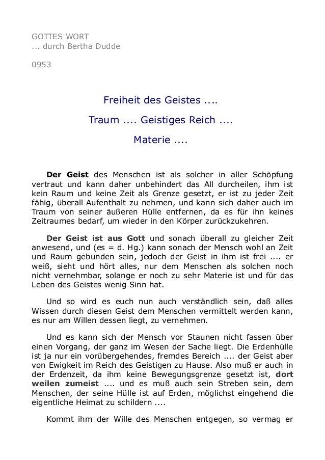 GOTTES WORT ... durch Bertha Dudde 0953 Freiheit des Geistes .... Traum .... Geistiges Reich .... Materie .... Der Geist d...