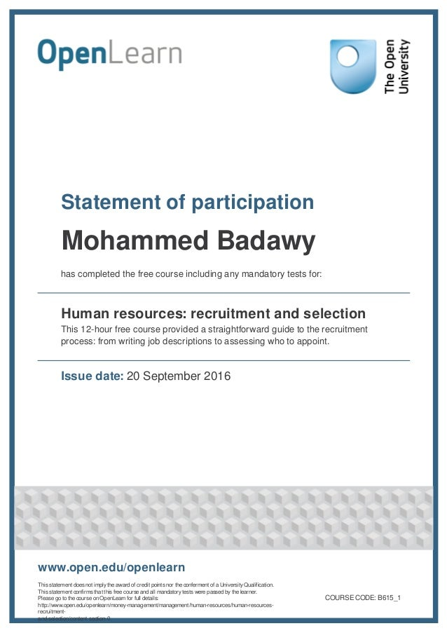 Statement of participation Mohammed Badawy has completed the free course including any mandatory tests for: Human resource...