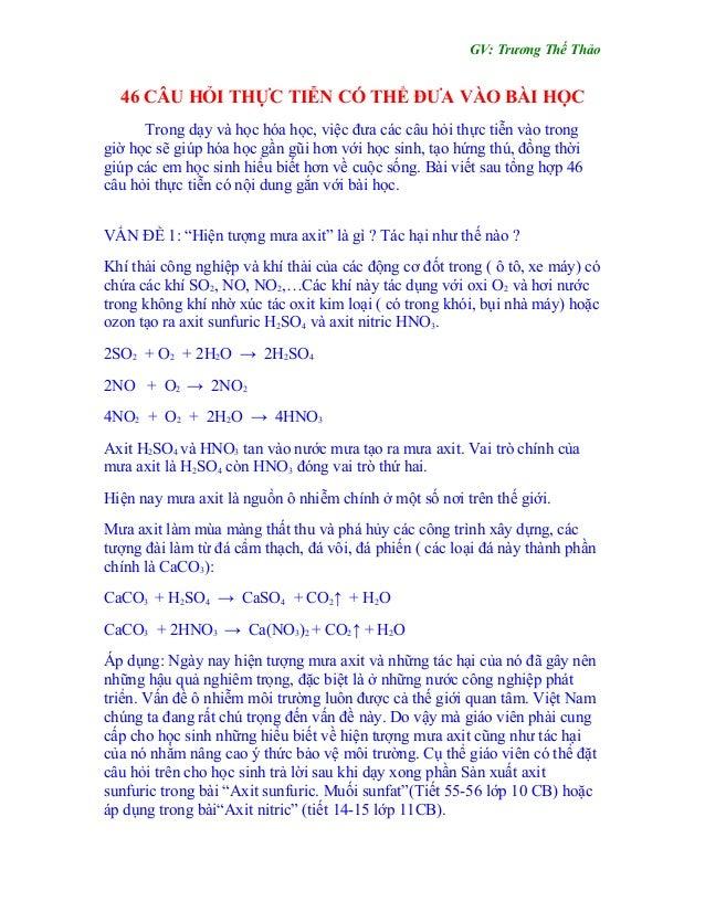 Gv: Trương Thế Thảo 46 Câu Hỏi Thực Tiễn Có Thể Đưa Vào Bài Học ...