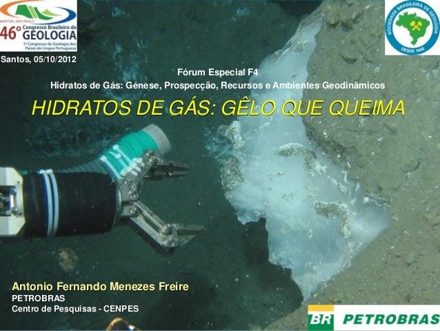 Fórum Especial F4 Hidratos de Gás: Génese, Prospecção, Recursos e Ambientes Geodinâmicos HIDRATOS DE GÁS: GÊLO QUE QUEIMA ...