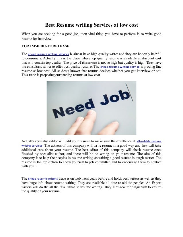 Cheap resume writing