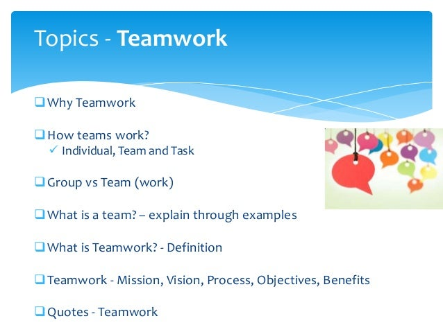 examples of working in a team