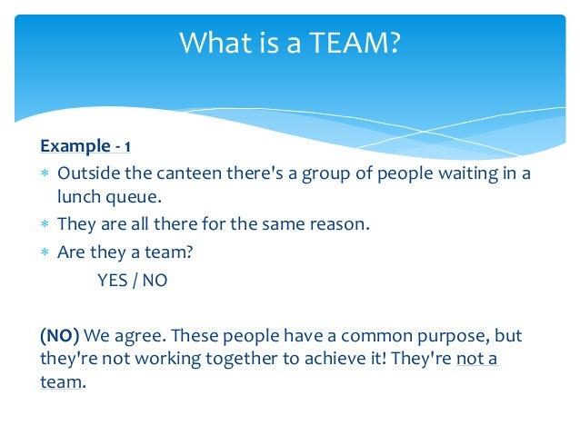 example of working as a team