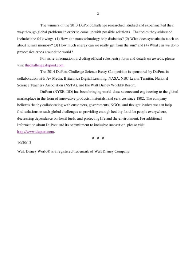 Dupont essay challenge 2012