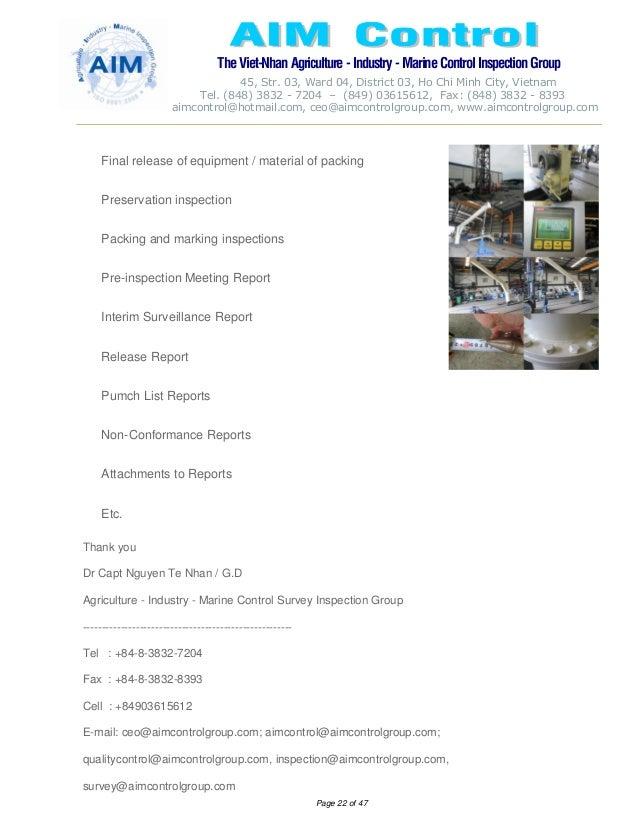 AIM BROCHURE & INSPECTION SURVEY ACTIVITIES DETAILS