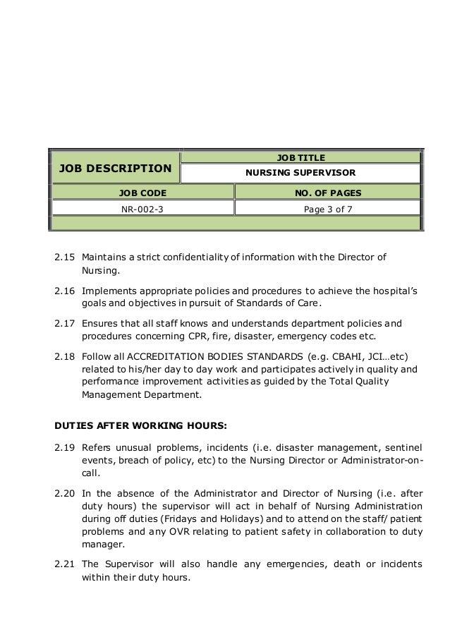 NURSING SUPERVISOR job description – Director of Nursing Job Description