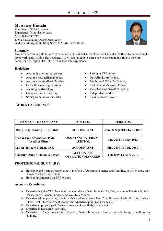 cv for an accountant