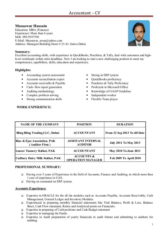 cv for an accountant