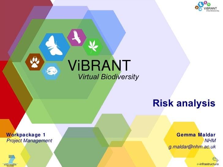 Risk analysis Gemma Maldar NHM [email_address] Workpackage 1 Project Management ViBRANT Virtual Biodiversity