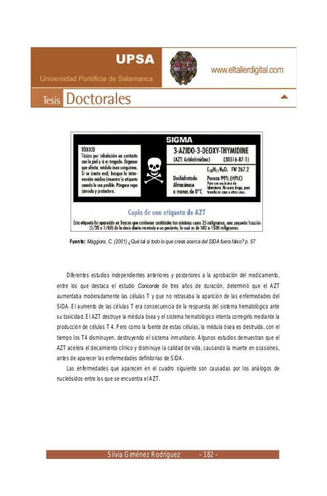 Silvia Giménez Rodríguez - 182 - Fuente: Maggiore, C. (2001) ¿Qué tal si todo lo que crees acerca del SIDA fuera falso? p....