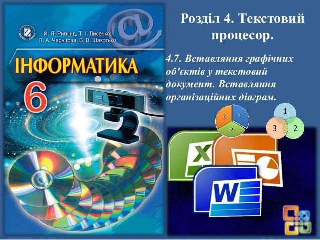 Розділ 4. Текстовий процесор. 4.7. Вставляння графічних об'єктів у текстовий документ. Вставляння організаційних діаграм.