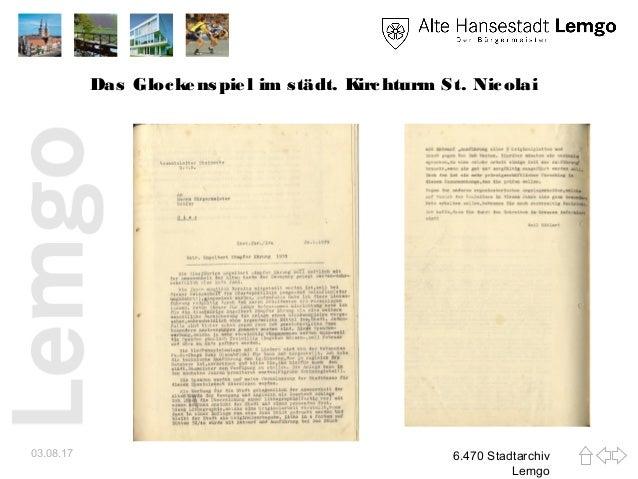 Das Glockenspiel im städt. Kirchturm St. Nicolai 03.08.17 6.470 Stadtarchiv Lemgo