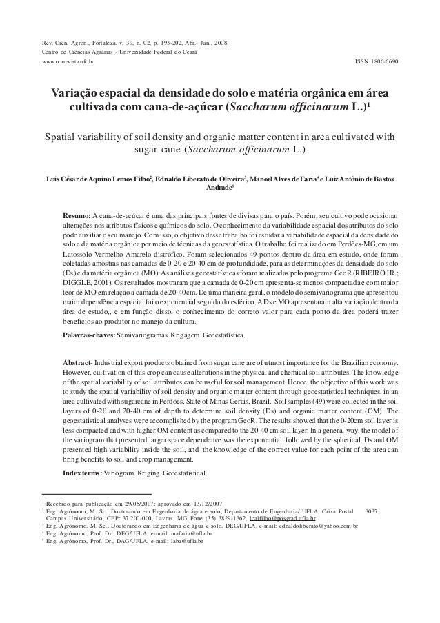 ISSN 1806-6690Rev. Ciên. Agron., Fortaleza, v. 39, n. 02, p. 193-202, Abr.- Jun., 2008Centro de Ciências Agrárias - Univer...