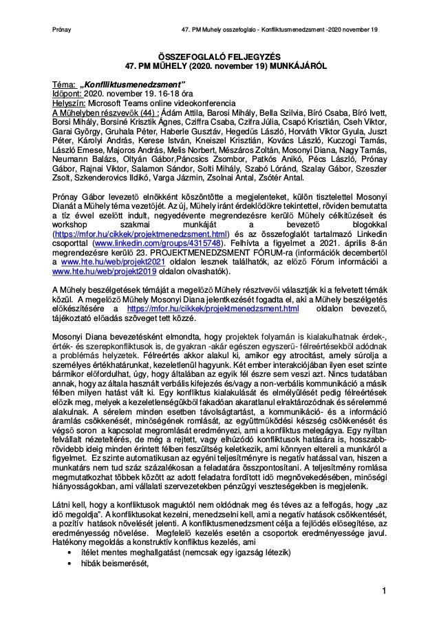 Prónay 47. PM Muhely osszefoglalo - Konfliktusmenedzsment -2020 november 19 1 ÖSSZEFOGLALÓ FELJEGYZÉS 47. PM MŰHELY (2020....
