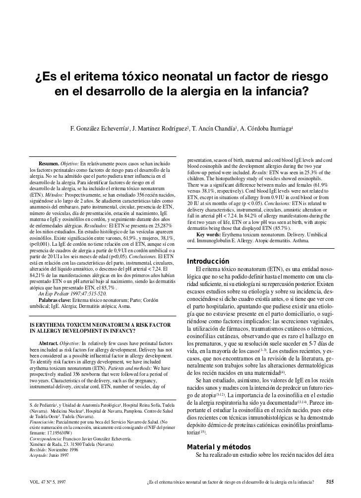¿Es el eritema tóxico neonatal un factor de riesgo      en el desarrollo de la alergia en la infancia?                    ...