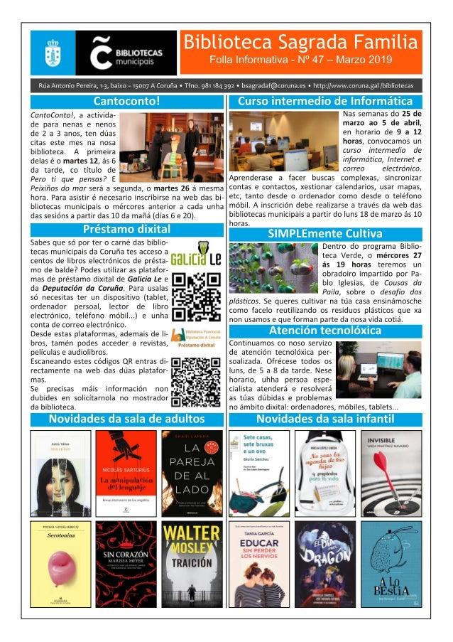 Boletín Informativo de marzo 2019 da Biblioteca Sagrada Familia da Coruña